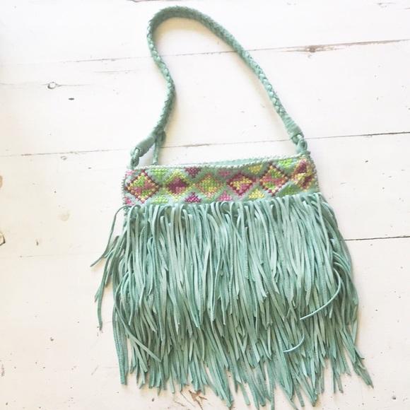 en shalla Bags | Mint Green Fringe Purse